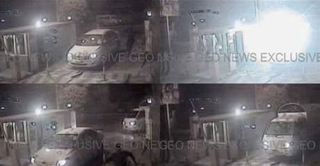 Příjezd aut s atentátníky do luxusního hotelu zachytila bezpečnostní kamera. (9. června 2009)