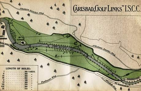 Plánek golfového hřiště v Kaiserparku.