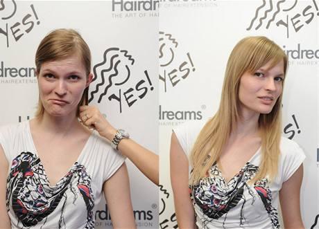 Denisa Dvončová před a po prodloužení.