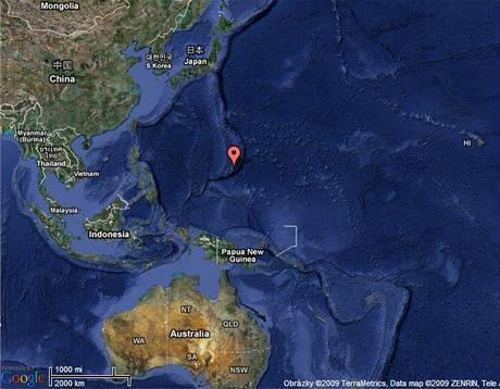 Mapa ostrova Guam v Tichém oceánu