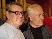 Z natáčení filmu Dobře placená procházka - Miloš Forman a Libor Pešek
