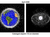 Kosmické smetí větší než 10 cm v roce 2008