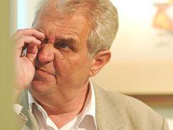 Miloš Zeman při návštěvě Veselí nad Moravou