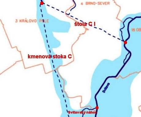 Nákres kudy původně Brnem protékala Ponávka - dnes teče štolou C1