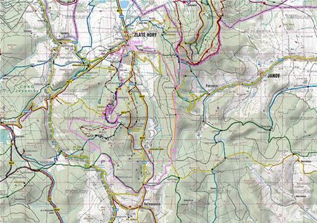 mapa cyklotrasy Zlaté hory