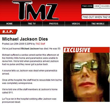 Zpravodajství portálu TMZ.com o úmrtí Michaela Jacksona