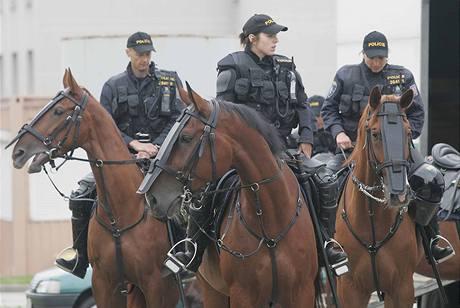 Ochránit průvod homosexuálů Queer Parade v Táboře přijeli i policisté na koních z Brna (20. června 2009)