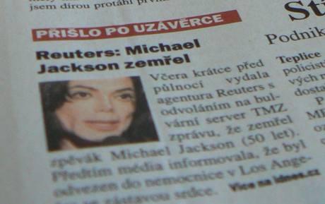 MF DNES s první zprávou o Jacksonově úmrtí.