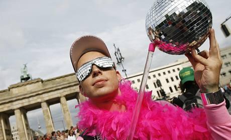Demonstrace homosexuálu v Berlíně.