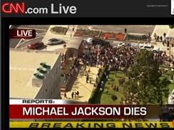 Zpravodajství CNN o úmrtí zpěváka Michaela Jacksona