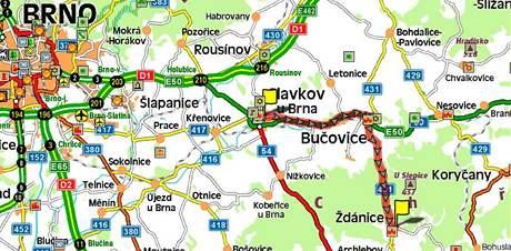 Řidiči se dostanou ze Slavkova u Brna až do Ždánic