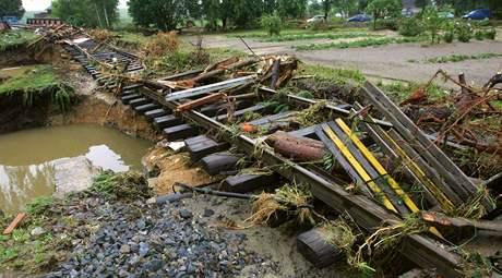 Následky povodní po přívalovém dešti z pátku na sobotu v Bernarticích u Javorníka