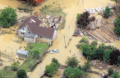 Zaplavený Jeseník nad Odrou (25. června 2009)