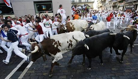 Prvního úprku před býky se v ulicích Pamplony zúčastnily dva tisíce lidí (7. července 2009)