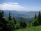 Výhled z Lysé hory  směrem k Ostravici a Pustevnám