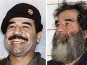 Saddám Husajn v době své největší slávy, těsně po zatčení a u iráckého soudu