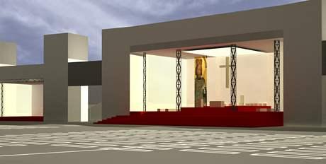 Vizualizace pódia pro papeže Benedikta XVI. ve Staré Boleslavi