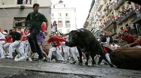 Vypouštění býků ve španělské Pamploně - šestý den (12.7.2009)