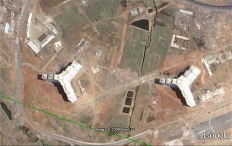 Snímek oblasti Rakrang na jižním okraji Pchjongjangu v červnu 2000
