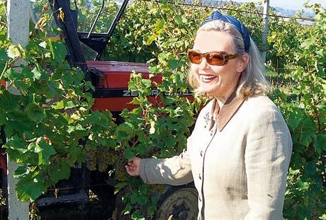 Bettina Lobkowicz na mělnické vinici