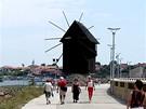 Větrný mlýn, jeden ze symbolů bulharského Nesebaru