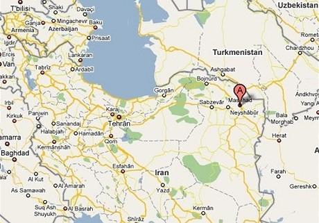 Írán - Mešhád - mapa