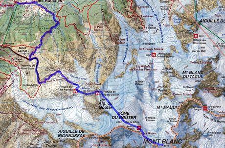 Mapa výstupu na Mont Blanc - klasická cesta