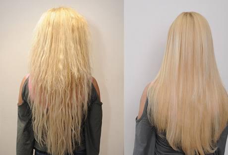 Srovnání vlasů před (vlevo) a po (vpravo) použití metody Brazilian keratin