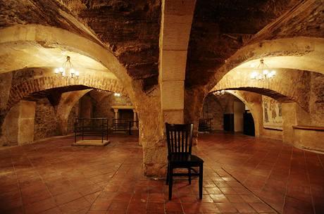 V románských a gotických sklepech pod domem bývala restaurace, v současné době se prostor teprve upravuje
