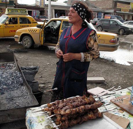 Čečensko, Groznyj. Výborný šašlik na každém rohu