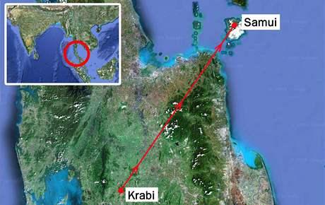 Letadlo společnosti Bangkok Airways letělo z města Krabi na ostrov Samui.