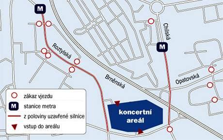 Mapa okolí koncertu Madonny na pražském Chodově