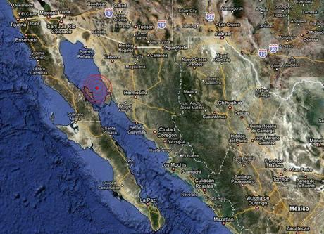 Ohnisko zemětřesení v Kalifornském zálivu.