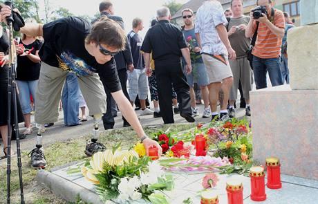 Vzpomínkové akce se zúčastnil také student ostravského gymnázia Jan Bulušek, který při nehodě přišel o obě nohy. (8. 8. 2009)