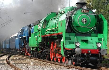 """Parní lokomotiva známá pod přezdívkou """"zelený anton"""
