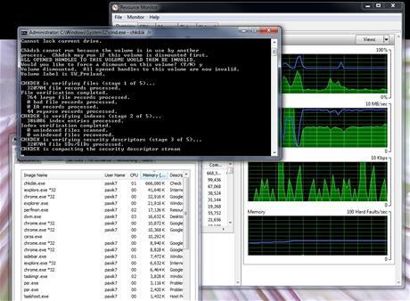 Chkdsk.exe jsme spustili z konzole (cmd.exe) na 300GB NTFS partition