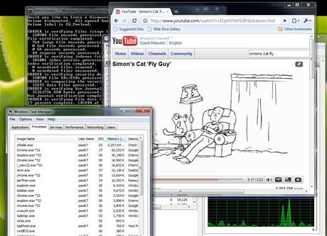 Pøestože systém se mírnì zpomalil, všechny ostatní aplikace byly nadále ovladatelné. Celý tento èlánek jsem napsal, zatímco kontrola systému nadále probíhala. I video v HD rozlišení fungovalo bez problémù.