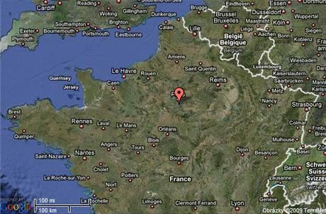 Letiště Orly u Paříže na mapě