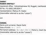 Smlouva o pronájmu vily v italském letovisku Monte Algentario mezi Markem Dalíkem a lichtenšteinskou firmou Raben Anstalt .