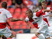 Takhle slávistický fotbalista Adam Hloušek oslavuje svůj gól