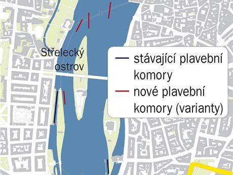 Mapa plavebních komor v Praze na Vltavě.