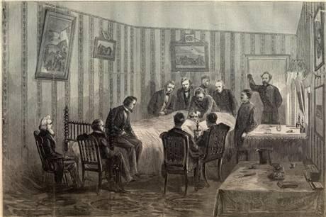 Americký prezident Abraham Lincoln na smrtelném loži