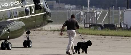 Obamovi na dovolené - pes Bo (23. srpna 2009)