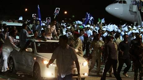 Abdala Basata Alího Muhammada Midžrahího vítaly po jeho návratu do Libye davy (21. srpna 2009)