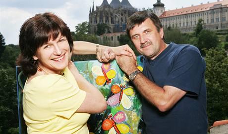 Olga Zubová s manželem, malířem Vladimírem Zubovem v Kutné Hoře.