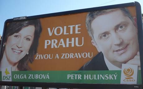 Olga Zubová a Petr Hulínský. Předvolební billboard ČSSD a DSZ; Praha, srpen 2009.