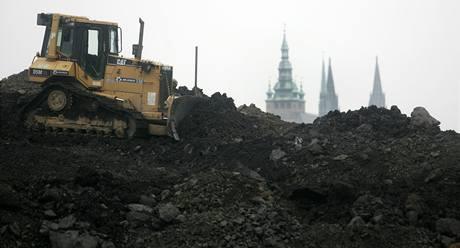 Výstavba tunelu Blanka; Praha - Letná, jaro 2009.