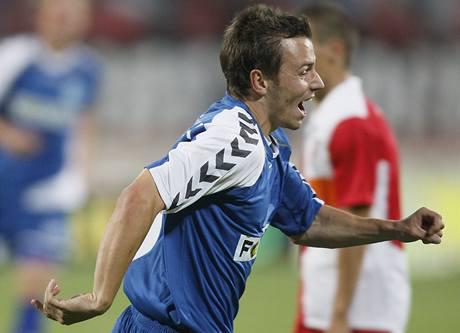 Liberec: Jiří Liška se raduje z vstřeleného gólu do sítě Dinama Bukurešť