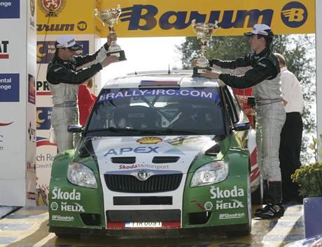 Barum rallye Zlín 2009: vítězná posádka Jan Kopecký a Petr Starý