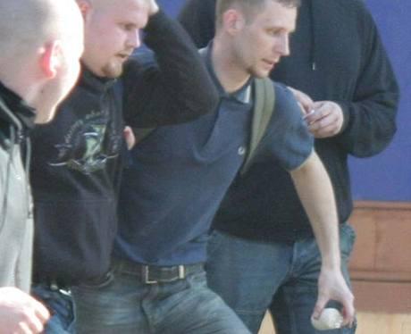 Jeden z obviněných v kauze Vítkov Jaromír Lukeš na demonstraci neonacistů v Přerově letos na jaře.